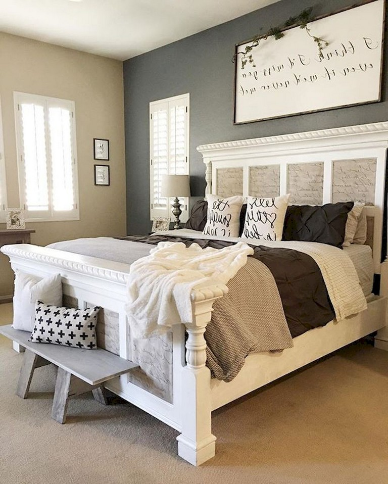 77+ Stunning Modern Farmhouse Style Bedroom Decor Ideas ...