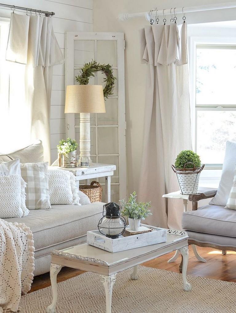 90+ Awesome Modern Farmhouse Curtains for Living Room ... on Farmhouse Bedroom Curtain Ideas  id=88509