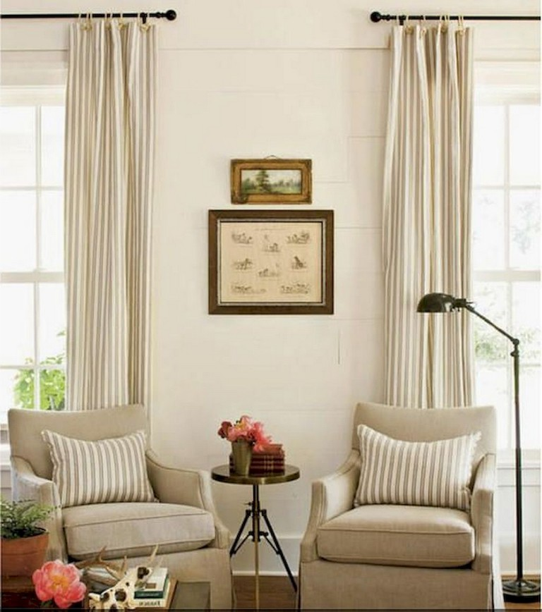 90+ Awesome Modern Farmhouse Curtains for Living Room ... on Farmhouse Living Room Curtain Ideas  id=84368